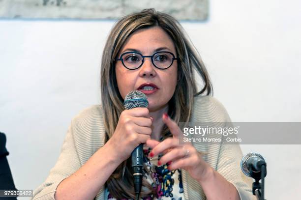 Maria Chiara Gadda deputy of the Democratic Party promoting food waste law during the press conference to present 'Restaurant Solidarity' the...