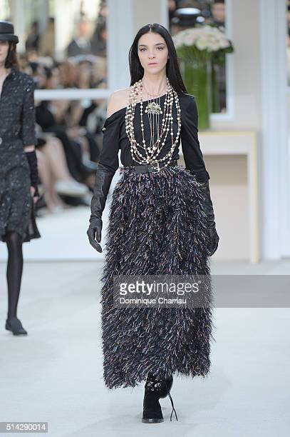Maria Clara Boscono walks the runway during the Chanel show as part of the Paris Fashion Week Womenswear Fall/Winter 2016/2017 on March 8, 2016 in...