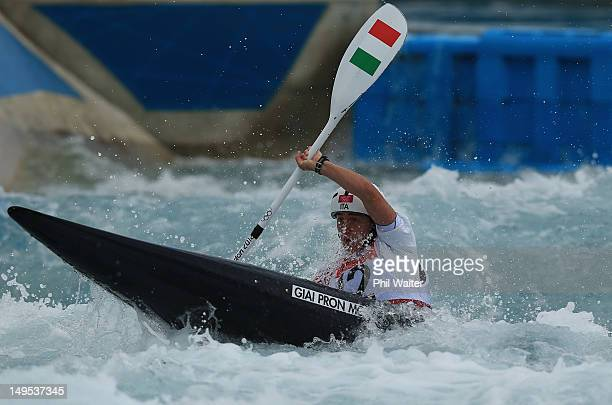 Maria Clara Giai Pron competes during the Womens Kayak Single Slalom heats on Day 3 of the London 2012 Olympic Games at Lee Valley White Water Centre...