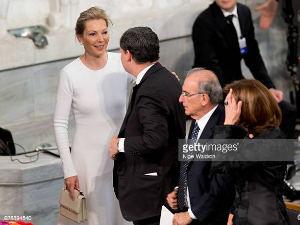 Maria Clemencia Rodriguez of Colombia attends the Nobel Peace Prize ceremony to honour this year's Nobel Peace Prize winner Colombian President Juan...