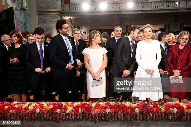Maria Clemencia Rodriguez wife of Colombian President Juan Manuel Santos and their children Maria Antonia Santos Martin Santos and Esteban Santos...