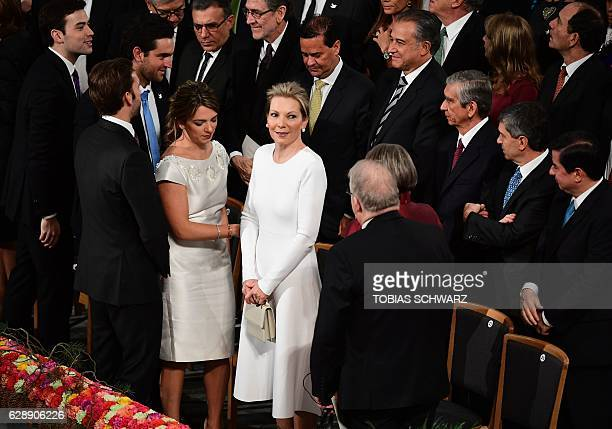 Maria Clemencia Rodriguez wife of Colombian President Juan Manuel Santos and their children Maria Antonia Santos Esteban Santons and Martin Santos...