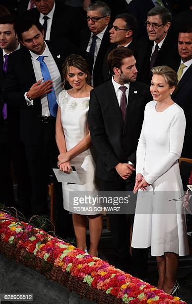 Maria Clemencia Rodriguez wife of Colombian President Juan Manuel Santos and their children Maria Antonia Santos Esteban Santos and Martin Santos...