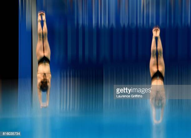 Maria Coburn and Alison Gibson of The United States practice ahead of the Womens 3m Sychnro Springboard Final on day four of the Budapest 2017 FINA...