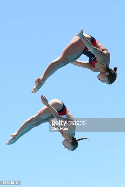 Maria Coburn and Krysta Palmer of the United States compete in the womens 3m synchro springboard final during the FINA Gold Coast Diving Grand Prix...