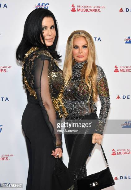Maria Conchita Alonso and Susan Hughes attend MusiCares Person of the Year honoring Aerosmith at West Hall at Los Angeles Convention Center on...