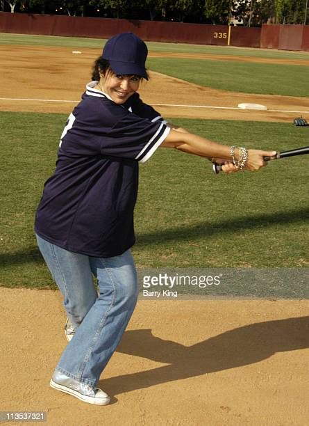 Maria Conchita Alonso during The Walt Disney Company TotalAXIS 2004 Celebrity Softball Game at USC Dedeaux Field in Los Angeles California United...
