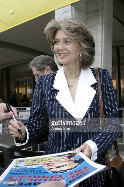 Maria Cooper daughter of Gary Cooper signs autographs outside before MODA Entertainment's Tribute Screening Of 'Pride Of The Yankees' at Lincoln...