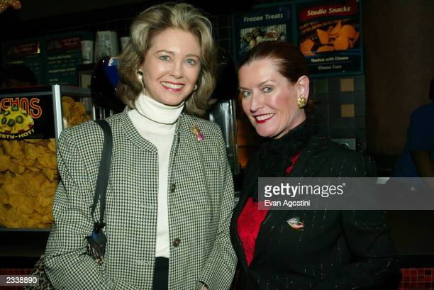 Maria Cooper Janis and Angela Hemingway attend the Jersey Guy film premiere at Chelsea West Cinema April 22 2003 in New York City