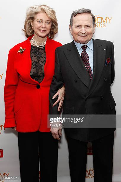 Maria Cooper Janis and Byron Janis attend the 2012 Academy of Motion Picture Arts and Sciences Oscar Night Celebration at the 21 Club on February 26...