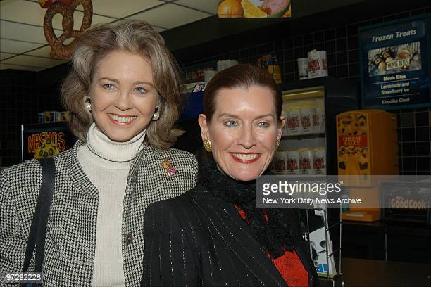 Maria Cooper Janis Gary Cooper's daughter and Angela Hemingway Ernest Hemingway's daughterinlaw arrive for the premiere of the movie Jersey Guy at...