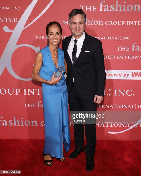 Maria Cornejo and Mark Ruffalo attend Fashion Group International's 2018 Night of Stars Gala at Cipriani Wall Street on October 25 2018 in New York...