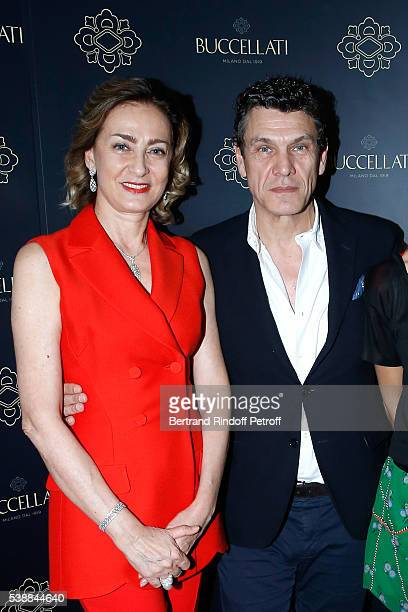 Maria Cristina Buccellati and singer Marc Lavoine attend the Opening of the Boutique Buccellati situated 1 Rue De La Paix in Paris on June 8 2016 in...