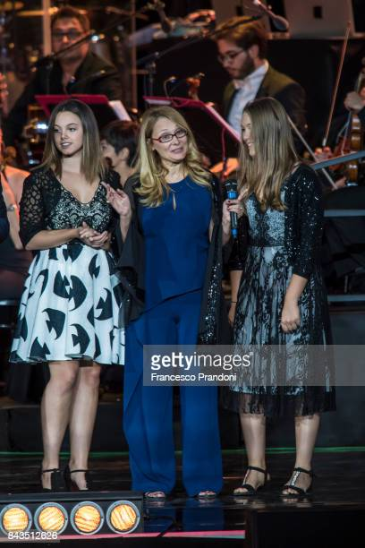 Maria Cristina Craciun, Nicoletta Mantovani and Alice Pavarotti perform at Luciano Pavarotti 10th Anniversary Concert in Arena di Verona on September...