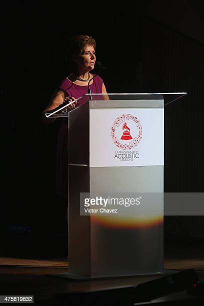 Maria Cristina Garcia Cepeda speaks on stage during the Latin Grammy Acustic Sessions at Centro Cultural Roberto Cantoral on June 3, 2015 in Mexico...