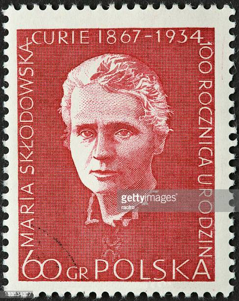 maria curie, atomic scientist on an old polish stamp - marie curie stock photos and pictures