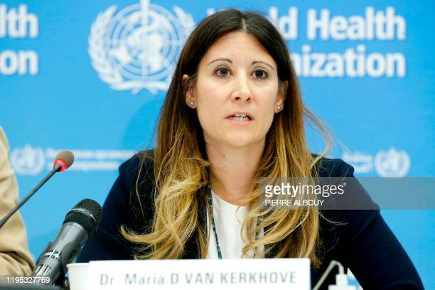 Maria D Van Kerkhove World Health Organization Head AI Emerging Diseases and Zoonoses Units speaks during a press conference following an emergency...
