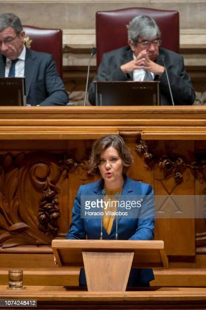 Maria da Assunção de Oliveira Cristas Machado da Graça president of the CDS – People's Party delivers remarks during the last day of the Portuguese...