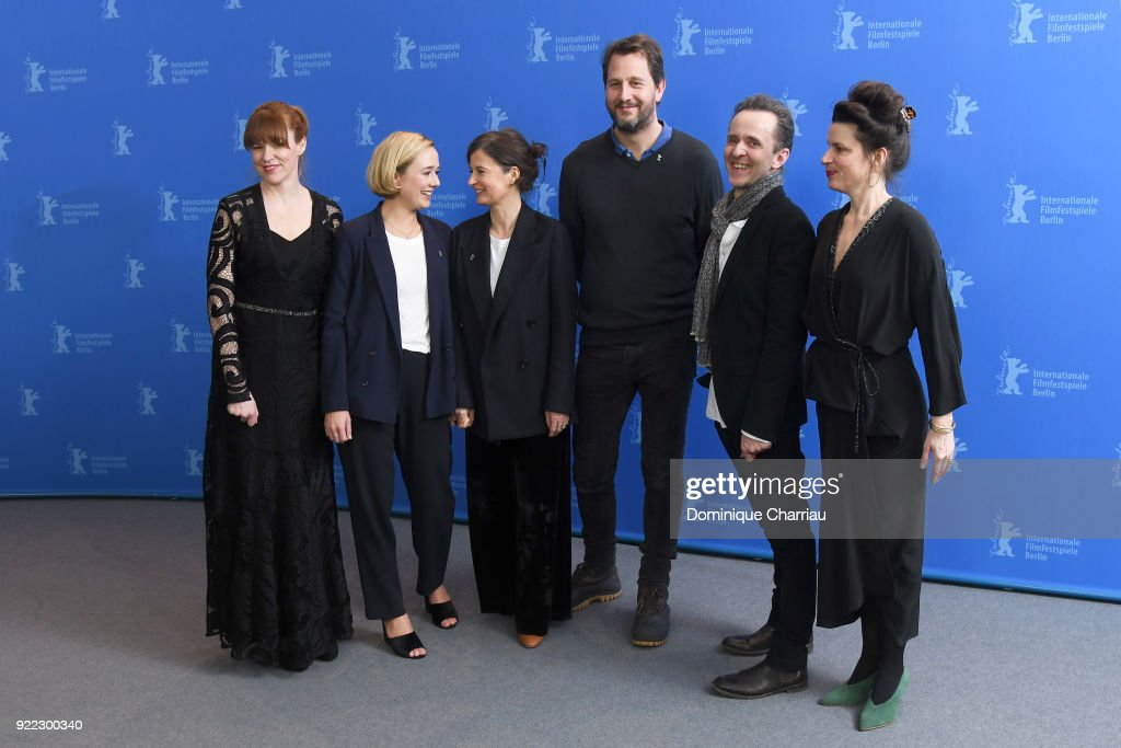 Maria Dahlin, Alba August, Pernille Fischer Christensen, Henrik Rafaelsen, Kim Fupz Aakeson and Anna Anthony pose at the 'Becoming Astrid' (Unga Astrid) photo call during the 68th Berlinale International Film Festival Berlin at Grand Hyatt Hotel on February 21, 2018 in Berlin, Germany.