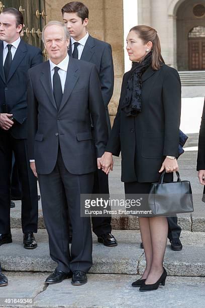 Maria de Borbon Dos Sicilias and Simeon de Austria attend the funeral chapel for Carlos de Borbon Dos Sicilias second cousin of King Juan Carlos and...