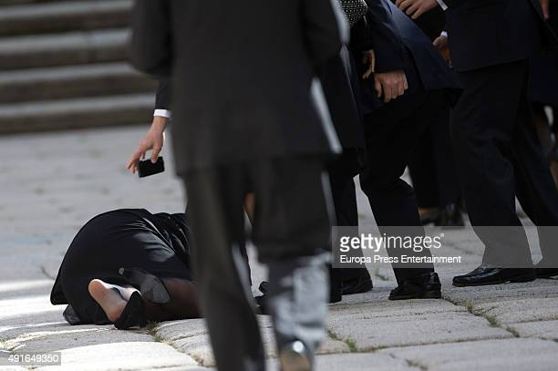 Maria de Borbon Dos Sicilias falls down during the funeral chapel for Carlos de Borbon Dos Sicilias second cousin of King Juan Carlos and Duke of...