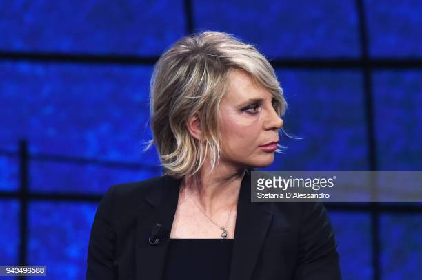 Maria De Filippi attends 'Che Tempo Che Fa' tv show on April 8 2018 in Milan Italy