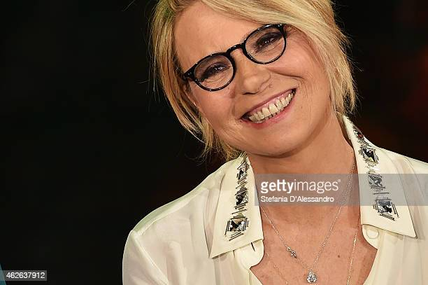 Maria De Filippi attends ''Che Tempo Che Fa' TV Show on February 1, 2015 in Milan, Italy.