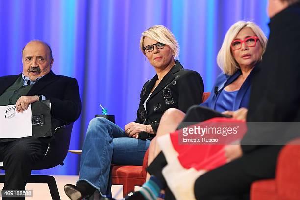 Maria De Filippi attends the 'Maurizio Costanzo Show' TV show at De Paolis' Studios on April 10, 2015 in Rome, Italy.
