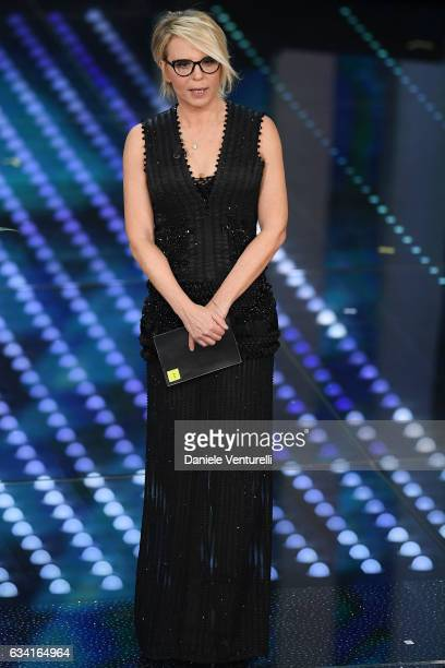 Maria De Filippi attends the opening night of the 67th Sanremo Festival 2017 at Teatro Ariston on February 7 2017 in Sanremo Italy