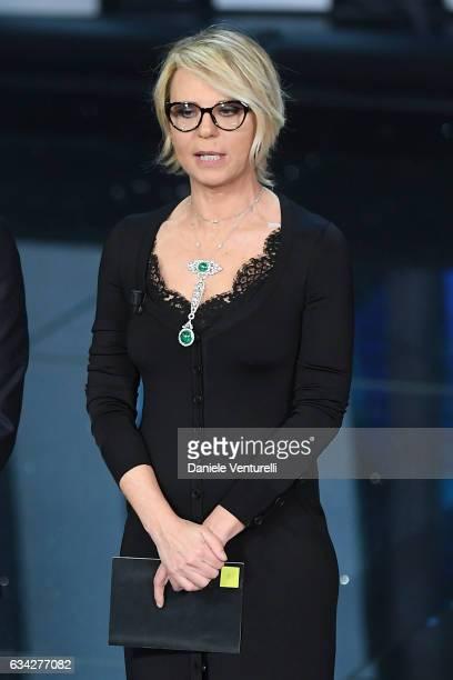 Maria De Filippi attends the second night of the 67th Sanremo Festival 2017 at Teatro Ariston on February 8 2017 in Sanremo Italy
