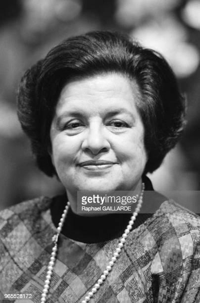 Maria de Lourdes Pintasilgo lors d'un meeting pour les élections présidentielles Lisbonne le 24 janvier 1986 Portugal