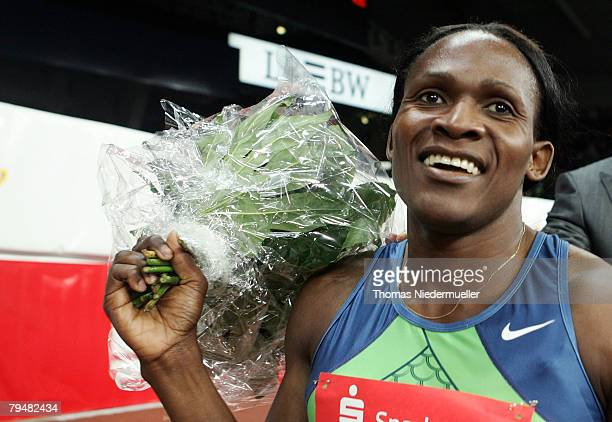 Maria de Lurdes Mutola of Mozambique celebrates her victory after the 800m run during the Sparkassen Cup 2008 at the Hanns-Martin Schleyer Hall on...