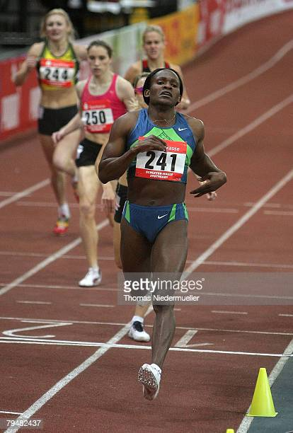 Maria de Lurdes Mutola of Mozambique wins the 800m run during the Sparkassen Cup 2008 at the Hanns-Martin Schleyer Hall on February 2, 2008 in...