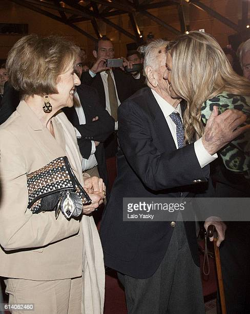 Maria del Carmen Cerruti, Jorge Zorreguieta and Queen Maxima of The Netherlands attend a conference at the UCA on October 11, 2016 in Buenos Aires,...