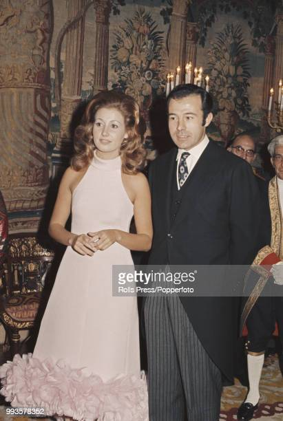 Maria del Carmen MartinezBordiu y Franco granddaughter of Fancisco Franco pictured with Prince Alfonso Duke of Anjou and Cadiz following the...