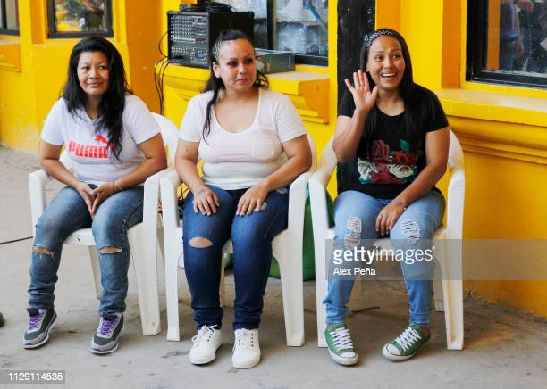 Maria del Transito Orellana Cinthia Marcela Rodriguez and Alba Lorena Rodriguez who were sentenced to jail under charges of abortion wait as they...