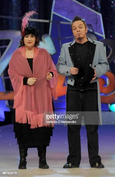 Maria Di Biase and Corrado Nuzzo attend Zelig Italian Television Show held at Teatro Degli Arcimboldi on February 16 2010 in Milan Italy