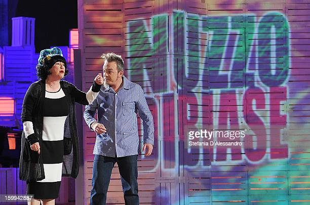Maria Di Biase and Corrado Nuzzo attend 'Zelig' Italian TV Show on January 23 2013 in Milan Italy