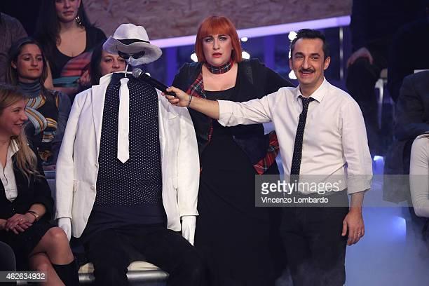 Maria Di Biase and Nicola Savino attend the 'Quelli Che Il Calcio' TV Show on February 1 2015 in Milan Italy