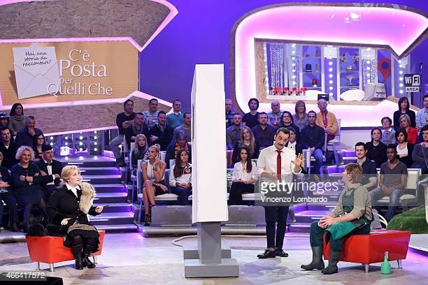 Maria Di Biase Nicola Savino and Corrado Nuzzo attend the 'Quelli Che Il Calcio' Tv Show on March 15 2015 in Milan Italy