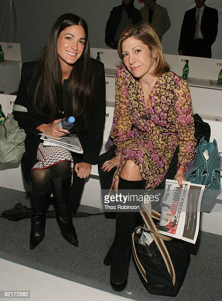 Maria Divaris editor at Marie Claire and Lesley Sey Mour editor in chief of Marie Claire attend the Jeffrey Chow Fall 2005 fashion show during the...