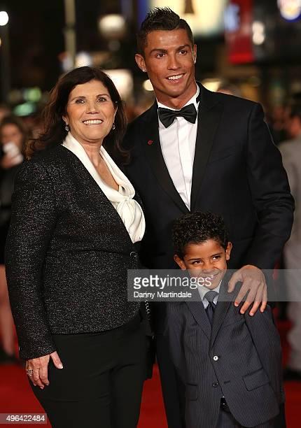 "Maria Dolores Aveiro, Cristiano Ronaldo and his son Cristiano Ronaldo Jr attend the World Premiere of ""Ronaldo"" at Vue West End on November 9, 2015..."