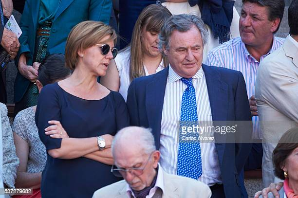 Maria Dolores de Cospedal and Ignacio Lopez del Hierro attend La Beneficiencia Bullfight at Las Ventas Bullring on June 1 2016 in Madrid Spain