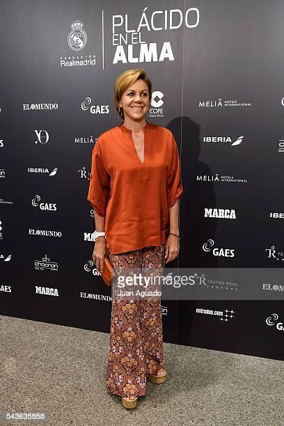 Maria Dolores de Cospedal attends 'Placido En El Alma' Photocall at Estadio Santiago Bernabeu on June 29 2016 in Madrid Spain