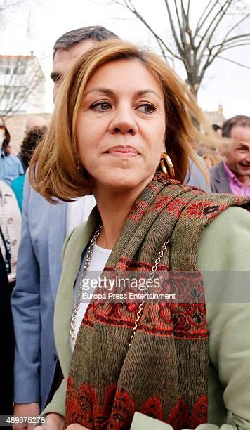 Maria Dolores de Cospedal attends the traditional Spring Bullfighting performance in Brihuega on April 11 2015 in Guadalajara Spain