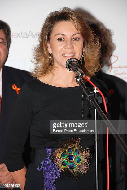 Maria Dolores de Cospedal making a speech during the opening of the pictures exhibition 'Mujeres al natural' organized by Sandra Ybarra Foundation at...