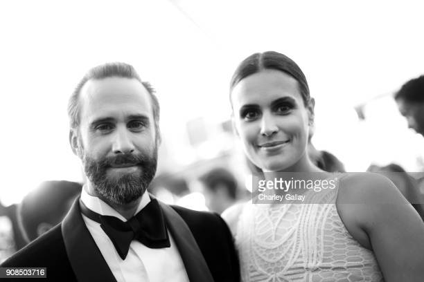 Maria Dolores Dieguez and actor Joseph Fiennes attend the 24th Annual Screen Actors Guild Awards at The Shrine Auditorium on January 21 2018 in Los...