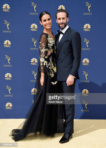 Maria Dolores Dieguez and Joseph Fiennes attend the 70th Emmy Awards at Microsoft Theater on September 17 2018 in Los Angeles California