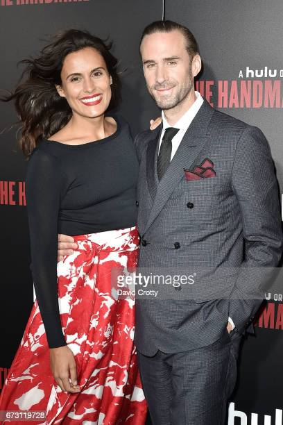 Maria Dolores Dieguez and Joseph Fiennes attend the Premiere Of Hulu's The Handmaid's Tale Arrivals at The Dome at Arclight Hollywood on April 25...