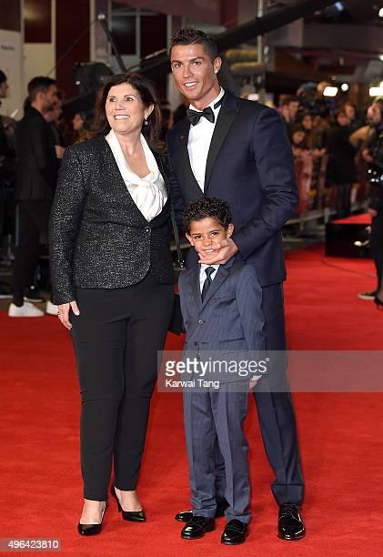 Maria Dolores dos Santos Aveiro Cristiano Ronaldo and son Cristiano Ronaldo Jnr attend the World Premiere of 'Ronaldo' at Vue West End on November 9...